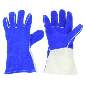 Welding Glove: Cowhide, 14 in Glove Lg, Gauntlet Cuff, Blue, Left/Right Pr, Std, ANSI Compliant Yes, 1 PR