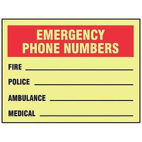 Accuform Emergency Contact Sign: 10 in Overall Ht, 14 in Overall Wd, Vinyl, Self-Adhesive, English, Yellow