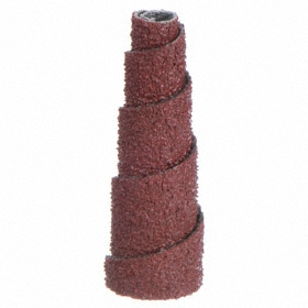Tapered Cartridge Roll: 1 in Overall Lg, 120 Grit, Fine Relative Grit Grade, 3/8 in Max Roll Dia, 1/8 in Pilot Hole Dia