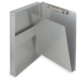 Form-Holding Clipboard: 3/8 in Clip Capacity, 10 1/8 in Lg, 6 1/8 in Wd, Side & Down, Aluminum, Silver, Memo