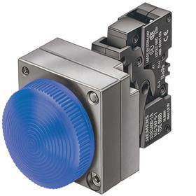 Siemens Pilot Light Complete Unit: 110V AC, Brass/Zinc Die Cast, Blue, Includes Bulb, Nickel, Screw Terminal, For LED
