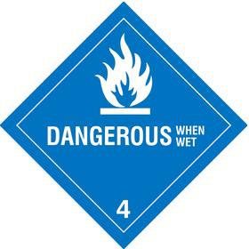 DOT Hazardous Material Label: Dangerous When Wet 4, 4 in Label Ht, 4 in Label Wd, Vinyl, 250 PK