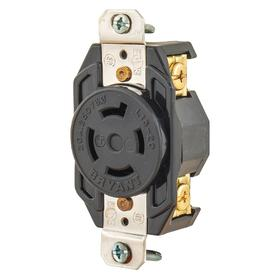 Bryant Turn-Locking Outlet Receptacle: 3 Blades/Spaces, L15-20 NEMA Configuration, 250V AC, 20 A Current, Three Phase