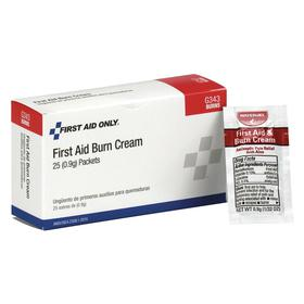 First Aid Only Burn Cream: 25 Max # of People Served, 25 Pieces, ANSI Z308.1-2015, Cardboard, 3 in Ht, 3 in Wd, 25 PK