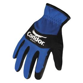 Mechanic Glove: Synthetic Leather, Knit Cuff, Black/Blue, 2XL Size, Neoprene/Spandex, Full Coverage Finger, 1 PR