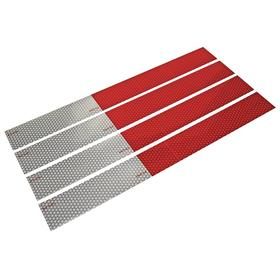 Cequent Vehicle Reflector: Rectangle, Red/White, 18 in Overall Lg, 2 in Overall Wd, Plastic, Permanent, 4 PK