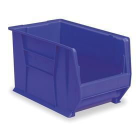 Akro-Mils Stacking Bin: Plastic, Blue, 12 in Ht, 18 3/8 in Wd, 29 1/4 in Dp, 300 lb Max Load Capacity