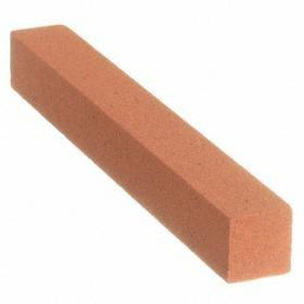 Norton Abrasive Stick: Square, Fine Relative Grit Grade, Orange, Aluminum Oxide, 4 in Overall Lg, 1/2 in Overall Wd
