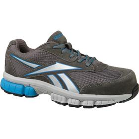 Reebok Athletic-Style Work Shoe: Women, Composite, Suede Leather, Blue/Dark Gray/Silver, Gen Use, Electrical Hazard Rated, ASTM F2413, D Shoe Wd, 1 PR