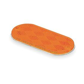 Screw Mount Vehicle Reflector: Oval, Yellow, 4 3/8 in Overall Lg, 1 7/8 in Overall Wd, Acrylic