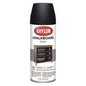 Krylon Chalkboard Spray Paint: Black, Flat, 15 min Dry Time, 18 sq ft, 12 fl oz Container Size, Sprayer, Solvent
