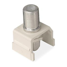 Hubbell F-Type Keystone Jack: White, Plastic, Female, F Connector, Nickel Plated, 18 Haz Material Indicator, 1 Ports