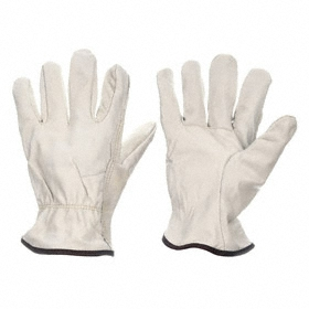 Honeywell Work Glove: Leather Drivers Glove, Cowhide, Fleece, Shirred Cuff, Smooth, Tan, L Size, Std, Full Coverage Finger, 1 PR
