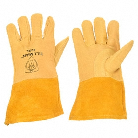 Welding Glove: Pigskin, 0.5 mm Glove Material Thickness, 12 in Glove Lg, Gauntlet Cuff, Tan, Left/Right Pr, 1 PR