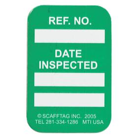 Brady Equipment Tagging System Tag: 1 3/4 in Overall Ht, 1 1/4 in Overall Wd, Inspection Logging, Green, English, 100 PK