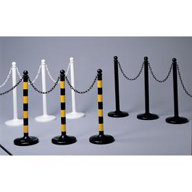 Stripped Medium Duty Stanchion: Polyethylene, Flat Base, Gloss/Matte, 40 in Post Ht, 2 1/2 in Post Dia, 6 PK