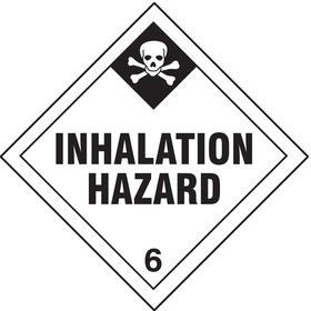 DOT Hazardous Material Label: Inhalation Hazard 6, 4 in Label Ht, 4 in Label Wd, Vinyl, 25 PK