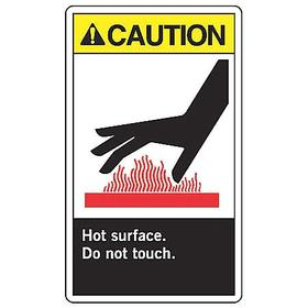 Accuform Hot Temperature Sign: 10 in Overall Ht, 7 in Overall Wd, Aluminum, Mounting Holes, English, Caution, White
