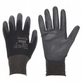 Ansell SensiLite Work Glove: Coated Fabric Glove, L Size, Palm Dip, Nylon, Polyurethane, Smooth, Knit Cuff, Black, 1 PR