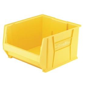 Akro-Mils Stacking Bin: Plastic, Yellow, 12 in Ht, 18 1/4 in Wd, 23 7/8 in Dp, 300 lb Max Load Capacity