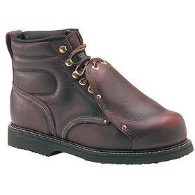 Carolina Leather Work Boot: Men, Steel, 6 in Shoe Ht, Brown, Compression/Electrical Hazard/Impact/Metatarsal Guard, External, 1 PR