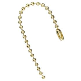 Ball Chain Tag Fastener: No. 3 Ball Chain Size, 6 in Overall Lg, Brass, Gold, 100 PK
