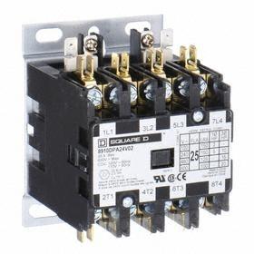 Schneider Electric Definite Purpose Contactor: Std Body, 277V AC Input Volt, 4 Poles, 25 A Input Current